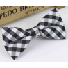 Bow tie for kids KBTMT-6 White and black  plaid