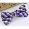 Bow tie for kids KBTMT-12 White, black and mauve plaid