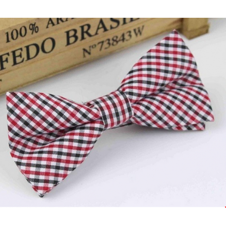 Bow tie for kids KBTMT-11 Red, white and black plaid