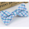 Bow tie for kids KBTMT-14 Turquoise, white and mauve plaid