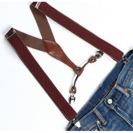 Adjustable elastic suspenders Burgundy and brown