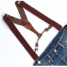 Adjustable elastic suspenders Burgundy and brown