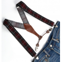 Adjustable elastic suspenders Burgundy and black plaid