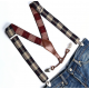 Adjustable elastic suspenders Beige black and red plaid