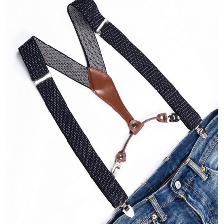 Adjustable elastic suspenders Black with white dots