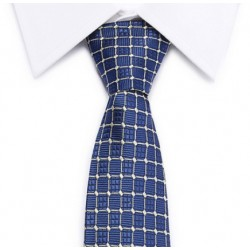 Navy square pale-yellow tie