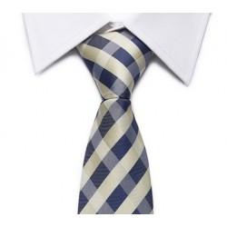 Cravate jaune pâle-marine (rayures entrecroisées)