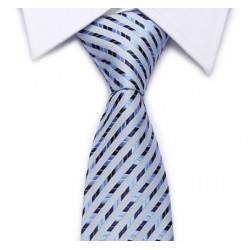Pale blue tie marine-blue diagonal stripes