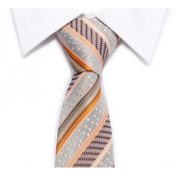 Tie striped gray-sandy-brown-orange diagonal