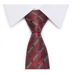 Cravate motifs et losanges (rouge-noir-gris)