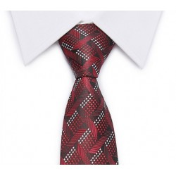 Tie intersecting diagonal stripes (red-black-white)