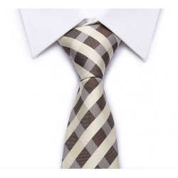 Cravate rayures diagonales entrecroisées (crème-marron)