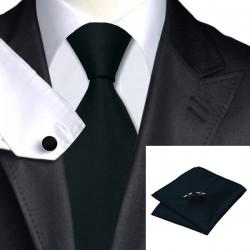 Ensemble cravate, mouchoir et boutons de manchettes 100 % soie STLV-251