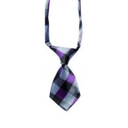Cravate pour chiens et chats tartan gris et mauve