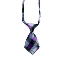 Tie for dogs and cats grey and violet plaid