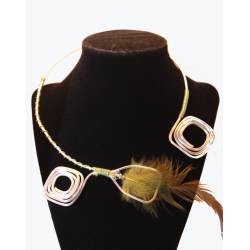 Open necklace silver metal and green feather