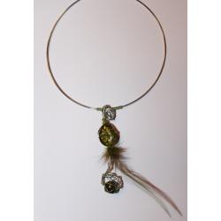 Collier pendentif argent et vert jade