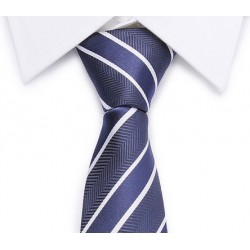 Tie diagonal stripes (blue-white)
