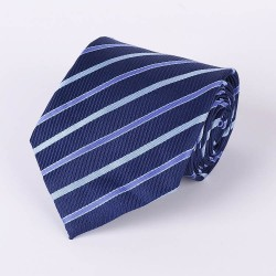 Cravate bleu marin rayures diagonales bleues