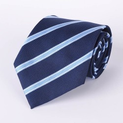 Blue tie with wide stripes sky blue and white