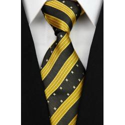 Cravate large jaune, rayures orange et blanches