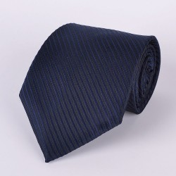 Black tie with navy blue stripes