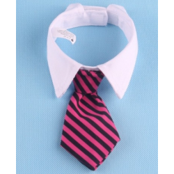 Cravate pour chiens et chats Rayures noires et roses avec col blanc