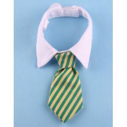 Cravate pour chiens et chats Rayures jaunes et vertes avec col blanc