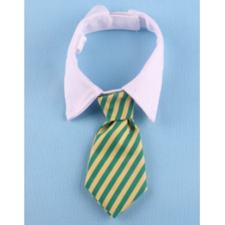 Tie for dogs and cats Yellow and green stripes with white collar