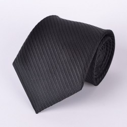 Black tie with stripe pattern