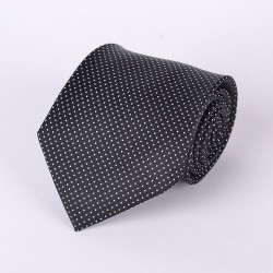 Black tie dotted with white dots