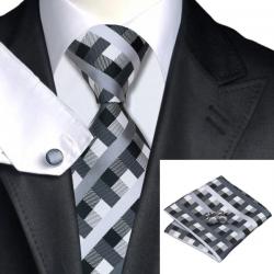 Tie hanky cufflink set silk 100 %