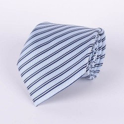 Pale blue tie navy blue and white stripes