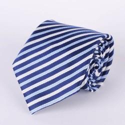 Cravate rayures bleu pâle, bleu marin et blanches