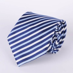 Tie pale blue stripes, navy blue and white