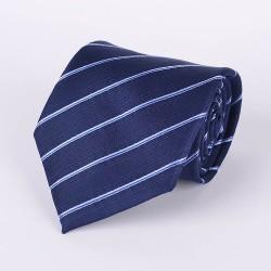 Cravate bleu marin fines rayures bleu pêle