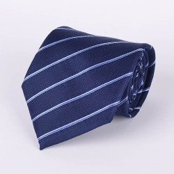 Navy blue tie with thin pale blue stripes