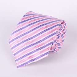 Pink tie white and violet stripes
