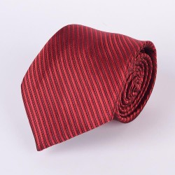 Red tie thin black stripes